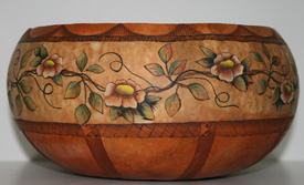 Flowering Vine Gourd Bowl Pyrography 2016
