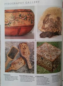 Upper left corner is one of my gourds featured in the gallery section of Pyrography Magazine